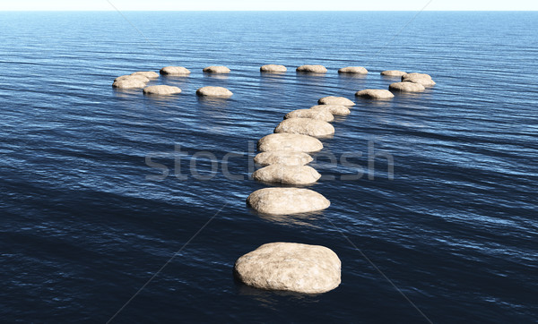 Stock photo: Question mark of stones on the water
