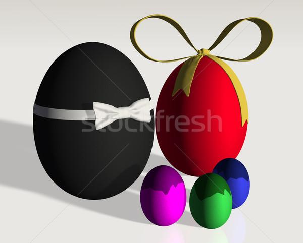 Renkli paskalya yumurtası aile baba anne küçük Stok fotoğraf © TaiChesco