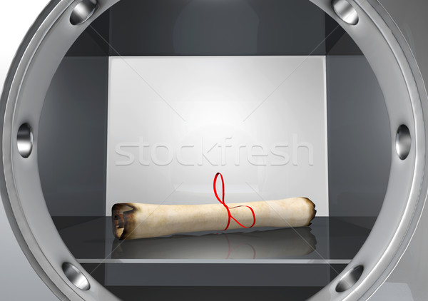 old parchment rolled up put into a safe Stock photo © TaiChesco
