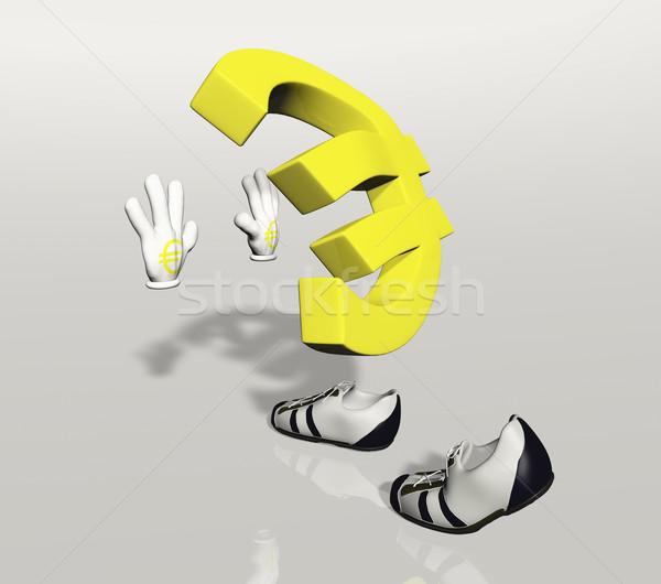 Euro szimbólum karakter toló tart valami Stock fotó © TaiChesco