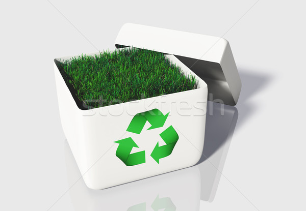 Grass into a box of recycling Stock photo © TaiChesco