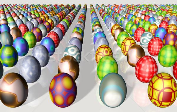 Paskalya yumurtası düzenli renkli farklı rasgele Stok fotoğraf © TaiChesco