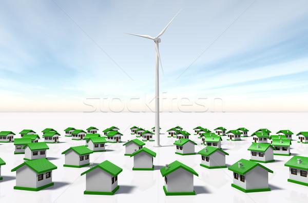 Klein huizen wind generator concentrisch Stockfoto © TaiChesco