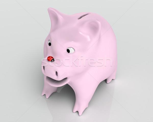 Surpreendido piggy bank joaninha vermelho joaninha Foto stock © TaiChesco