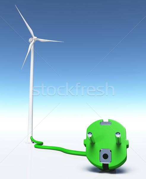 Wind generator with a green plug Stock photo © TaiChesco