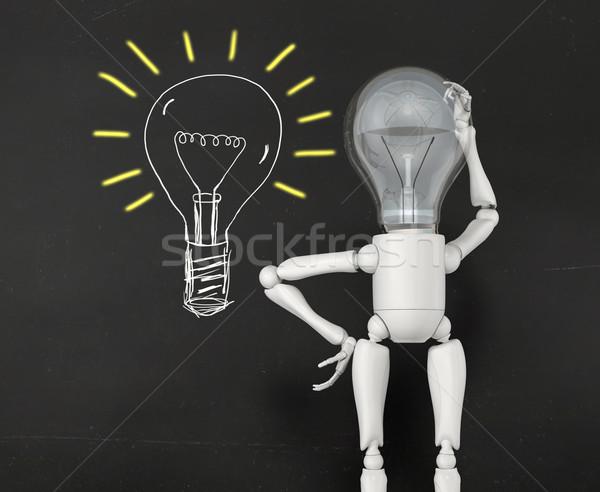 Lamba karakter fikirler ampul ışık Stok fotoğraf © TaiChesco