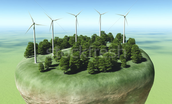 Wind generators on top of a terrain Stock photo © TaiChesco