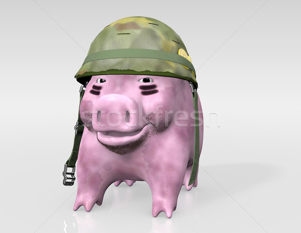pink piggy is ready to war Stock photo © TaiChesco