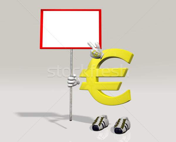 Euro simge karakter imzalamak el bir şey Stok fotoğraf © TaiChesco