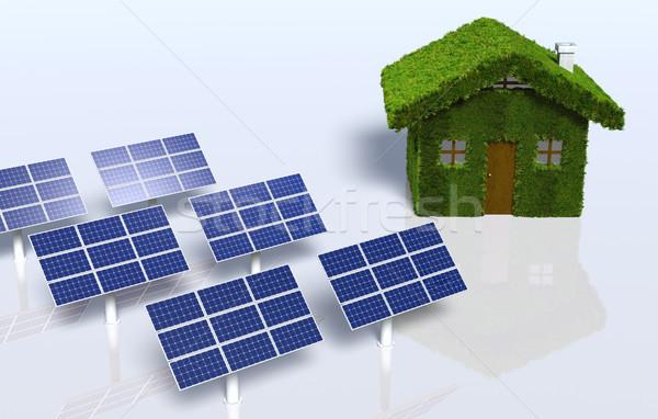 Grasachtig huis zonnepanelen klein gedekt gras Stockfoto © TaiChesco