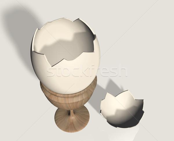 壊れた 卵殻 卵 カップ オープン 木製 ストックフォト © TaiChesco