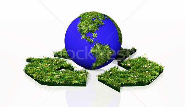 world into the recycling symbol Stock photo © TaiChesco