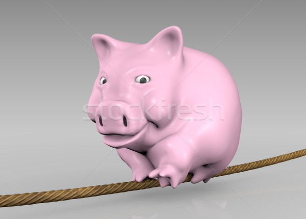 pink piggy on the rope Stock photo © TaiChesco
