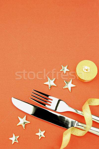 knife and fork with ribbon, stars, candle Stock photo © Taiga