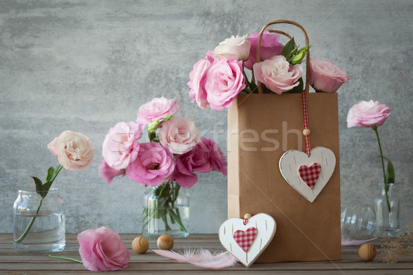 Düğün bağbozumu pembe çiçekler kalpler stil Stok fotoğraf © Taiga