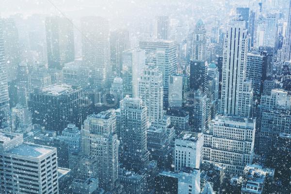 Hó New York fantasztikus kép sziluett városi Stock fotó © Taiga