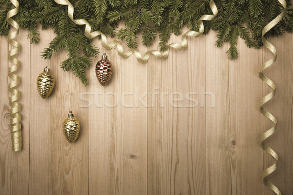 ChristmasVintage Background with fir tree, golden ribbon and dec Stock photo © Taiga