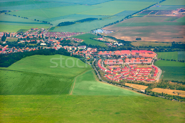 Stock photo: Aerial view of countryside with village and farmland