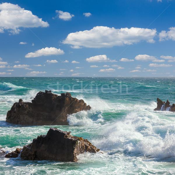 Turquoise ocean waves,  rocks coastline and  blue sky  Stock photo © Taiga
