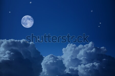 Fantastyczny widok z lotu ptaka nieba księżyc chmury gwiazdki Zdjęcia stock © Taiga