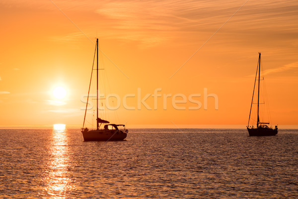 Yachts in the sea at sunset Stock photo © Taiga