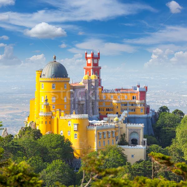 Słynny Portugalia pałac Błękitne niebo Europie Zdjęcia stock © Taiga