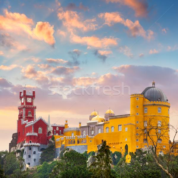дворец известный ориентир Португалия закат небе Сток-фото © Taiga