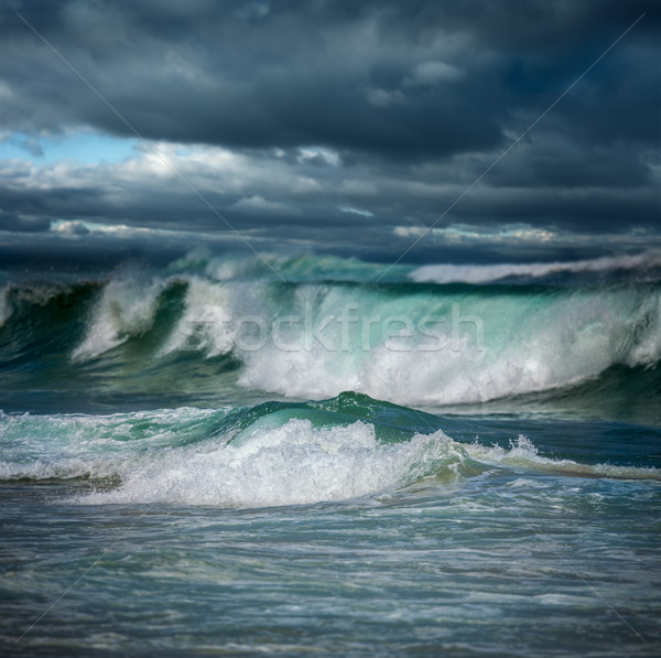Dangerous stormy weather - big ocean waves Stock photo © Taiga