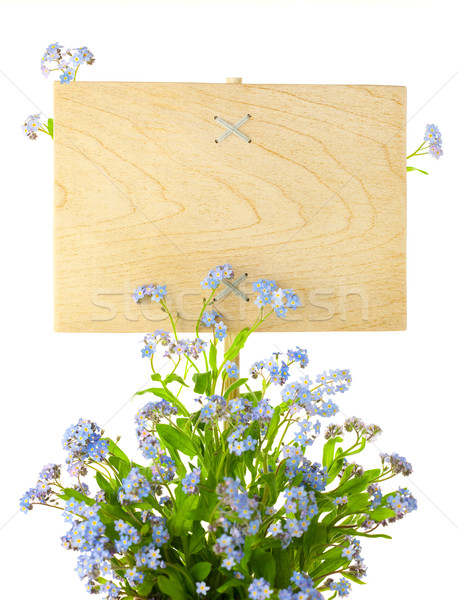 Wood Sign with Flowers / empty board for your text /  isolated o Stock photo © Taiga
