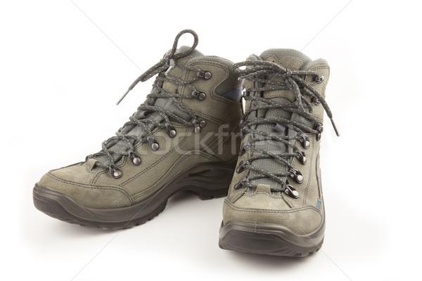 Trekking nieuwe schoenen geïsoleerd witte paar Stockfoto © Taiga