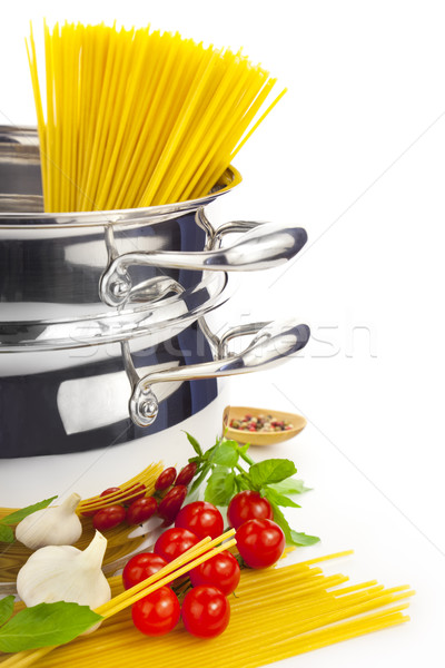 Italian cooking / pasta, tomatoes, basil, garlic and saucepan Stock photo © Taiga