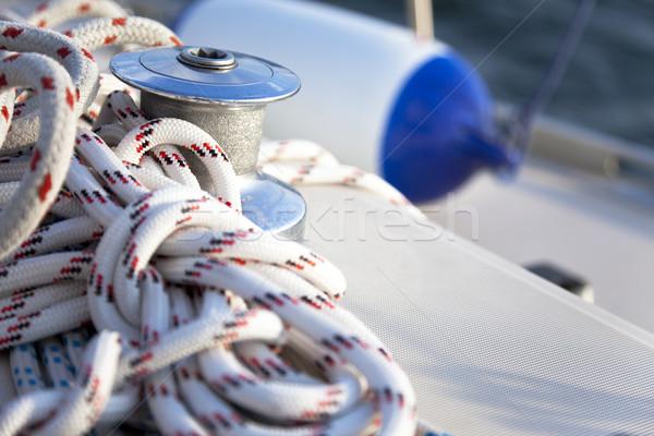 Stockfoto: Zeil · boot · zon · oceaan · Blauw