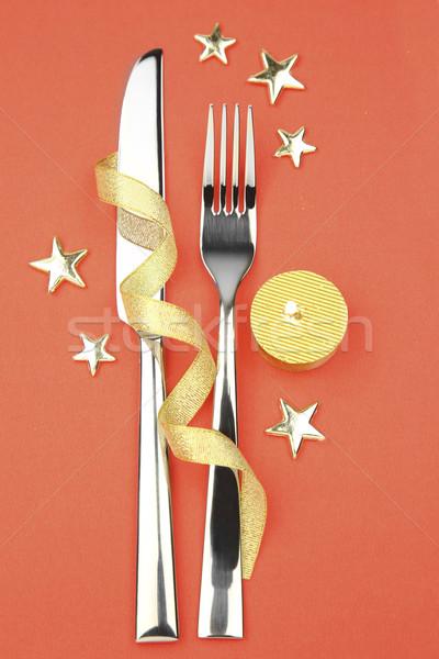 Couteau fourche ruban étoiles bougie taille Photo stock © Taiga