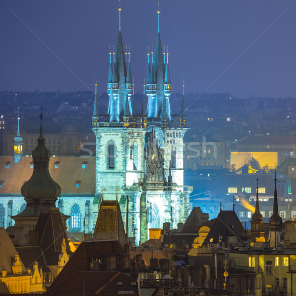 Amazing old town roofs  and night illumination, Europe Stock photo © Taiga