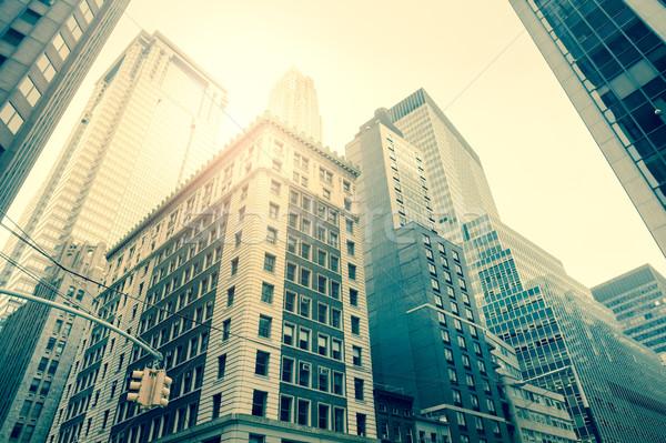 Wall Street wolkenkrabbers Manhattan New York vintage stijl Stockfoto © Taiga
