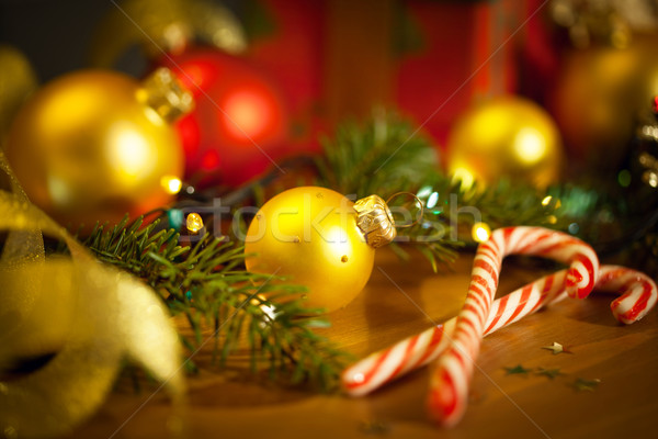 Christmas candies with firtree and baubles Stock photo © Taiga