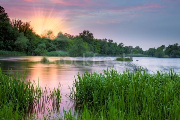 Stock fotó: Gyönyörű · színes · reggel · folyó · rózsaszín · napfelkelte