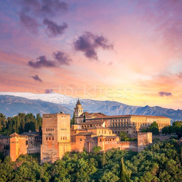 Fantasztikus ősi Alhambra este idő Spanyolország Stock fotó © Taiga