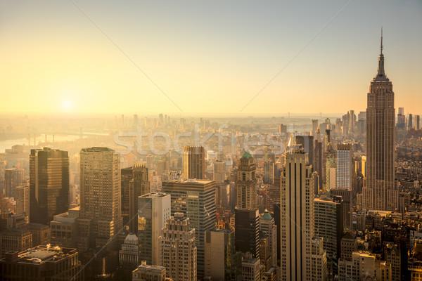 Нью-Йорк Skyline городского Небоскребы нежный Восход Сток-фото © Taiga