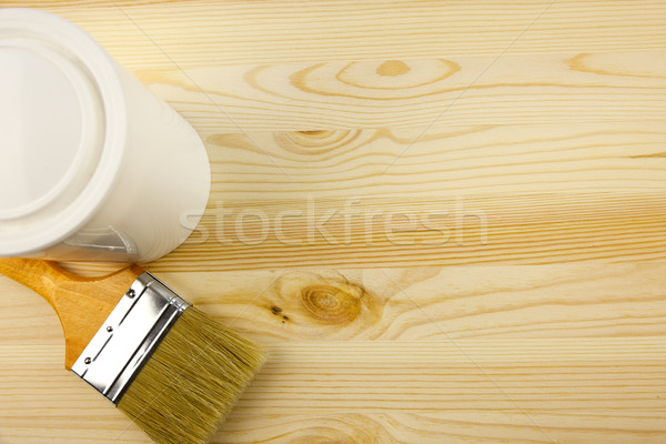 Wood texture and tin, paintbrush / covering by varnish Stock photo © Taiga