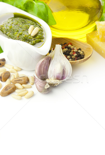 Frescos pesto ingredientes vertical aislado blanco Foto stock © Taiga