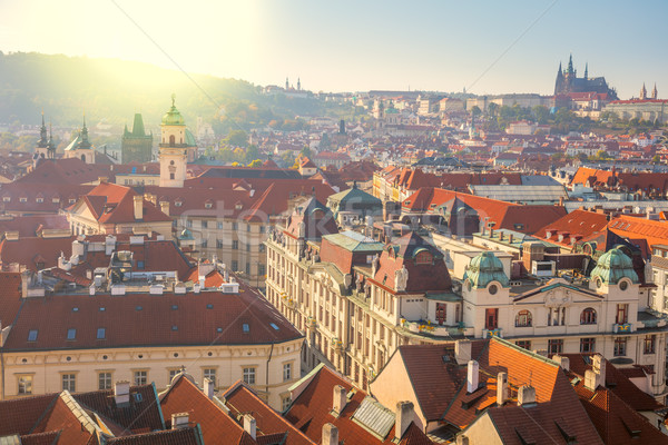 Panoramic Aerial view of Prague city with red rooftops Stock photo © Taiga