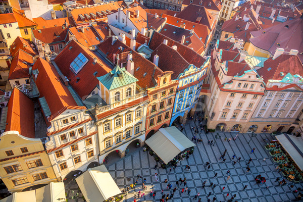 Aerial view of famous square in Prague city Stock photo © Taiga