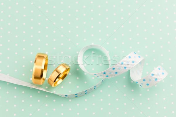 Elegant Wedding background - Two Wedding rings with ribbon Stock photo © Taiga