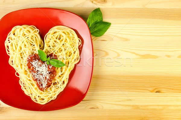 I love Pasta / Spaghetti on a plate and wooden table  / Heart Sh Stock photo © Taiga