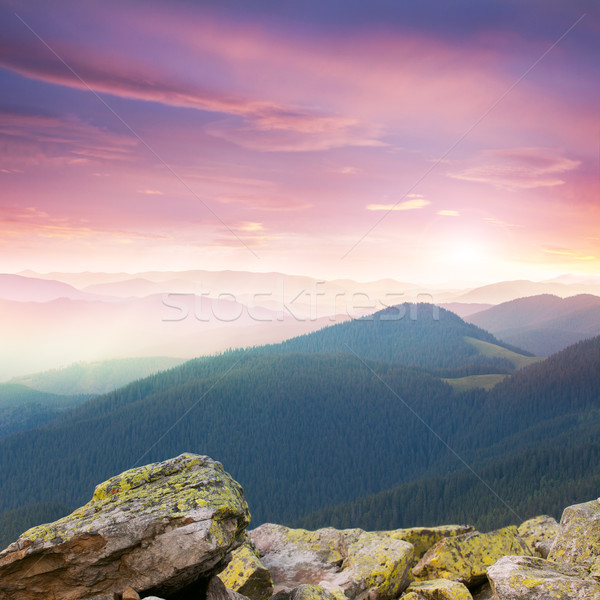 Rouge majestueux sunrise montagnes grand pierres Photo stock © Taiga