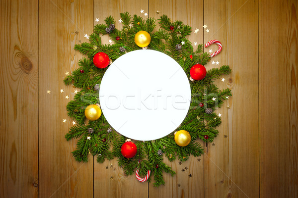 Christmas Round Frame with firtree, candies and baubles Stock photo © Taiga