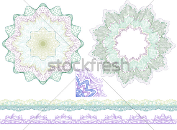 Classic guilloche borders and elenents for diploma or certificat Stock photo © Taiga
