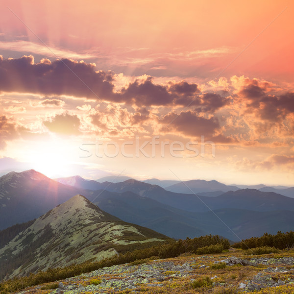 Beautiful Mountains -  sunset time. Hight peaks, clouds and red  Stock photo © Taiga