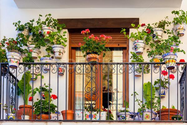 Geleneksel avrupa balkon çiçekler renkli şehir Stok fotoğraf © Taiga